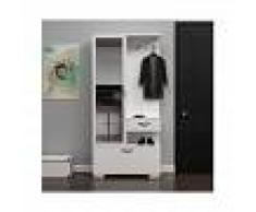 HOMEMANIA Mueble de Entrada Alda Armario Perchero Zapatero - con Espejo, Puertas,