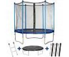 HABITAT ET JARDIN Trampolin / cama elástica Happy - Ø 1.80 m - con malla + escalera +