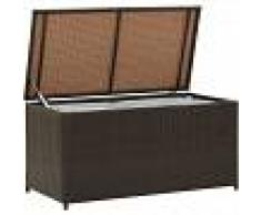 VIDAXL Caja de almacenaje jardín ratán sintético marrón 100x50x50 cm - VIDAXL