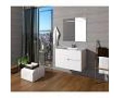 PLUSBAÑO Conjunto de baño Mueble 90x56x46 - Lavabo - Espejo 90 x 80 Blanco Mate