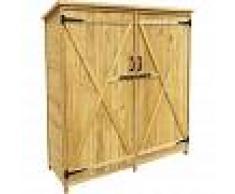 WILTEC Armario de jardín con 2 puertas 1350x500x1540mm cobertizo, caseta