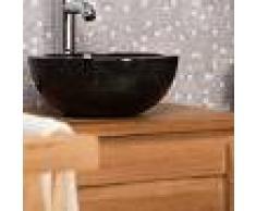 WANDA COLLECTION lavabo sobre encimera redondo BARCELONA de mármol color negro