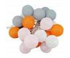 BARCELONA LED Guirnalda LED 24 Bolas de algodón con USB 3m-IP44-7cm Rosa, blanco,