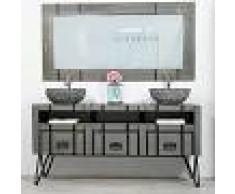 WANDA COLLECTION Mueble doble para cuarto de baño LOFT de mindi y metal 160 cm gris