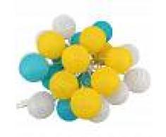 BARCELONA LED Guirnalda LED 24 Bolas de algodón con USB 3m-IP44-7cm azul, amarillo,
