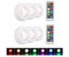 ASUPERMALL L¨¢mpara LED debajo del gabinete RGB Luz Puck Paquete de 6 Luz de