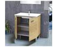 PLUS BAÑO Conjunto de baño - Mueble Lavabo Espejo 60x45x75 Roble natur ONA - PLUS