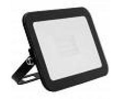 EFECTOLED Foco Proyector LED Slim Cristal 20W Negro Blanco Cálido 3000K - 3500K