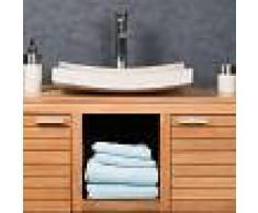 WANDA COLLECTION lavabo sobre encimera grande crema 50 cm rectángulo de mármol GÉNOVA