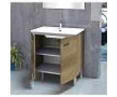 PLUS BAÑO Conjunto de baño - Mueble Lavabo Espejo 60x45x75 Roble gris ONA - PLUS