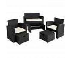 TECTAKE Conjunto de ratán Módena - mueble de exterior de poli ratán, muebles de