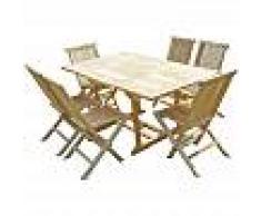 C&L JARDIN Conjunto de jardín de teca SERANG 6 sillas JALANG - C&L JARDIN