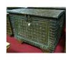BISCOTTINI Viejo cofre de madera y hierro talla L133xPR80xH100 cm - BISCOTTINI