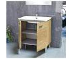 PLUS BAÑO Conjunto de baño - Mueble Lavabo Espejo 80x46x78 Roble natur ONA - PLUS