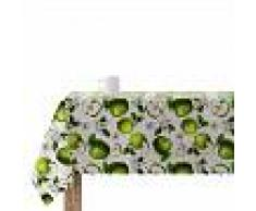 MUARE2 Mantel Antimanchas - Apple 1 - Blanco Y Verde - 200X140 cm