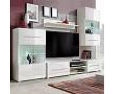 Vida XL Mueble de pared 5 uds gabinete TV con iluminación LED blanco