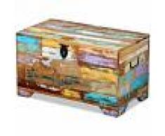 Vida XL Baúl de almacenamiento de madera maciza reciclada