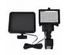 Vida XL Lámpara solar foco de LED de exterior con sensor, negra