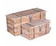 Vida XL Set de baúl de almacenamiento de madera de acacia 2 unidades