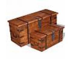 Vida XL Set de baúl de almacenamiento de madera maciza 2 unidades