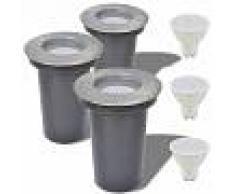 Vida XL Focos LED empotrables de suelo para exteriores redondos 3 uds
