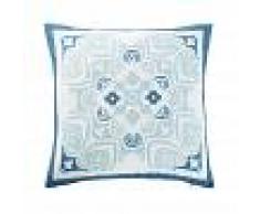 Maisons du Monde Cojín de exterior blanco con motivos decorativos de baldosa de cemento azul 45x45