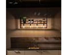 QAZQA Lámpara colgante industrial negra con estante de 4 luces - Cage Rack