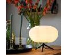 QAZQA Lámpara de mesa de diseño negro 33 cm con cristal opal - Hero
