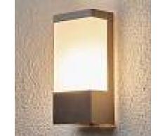 Lindby Lámpara de exterior moderna cuadrada de acero inoxidable y cristal de leche IP44 - Kirana