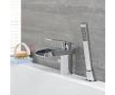 HudsonReed Grifo Mezclador de Lavabo y Bañera con Caño Abierto a Cascada con Ducha de Mano