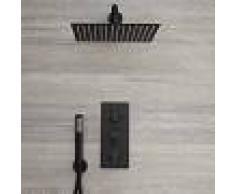 HudsonReed Llave de Ducha Termostática Empotrable Triple de 2 Funciones Negra con Alcachofa Cuadrada de 300x300mm y Telefonillo - Nox