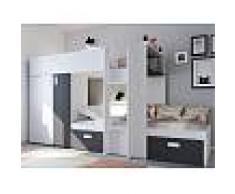 Venta-unica Cama litera JULIEN - 2x90x190 cm - Armario integrado - Pino blanco y negro