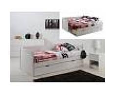 Venta-unica Cama nido y sofá ALFIERO con espacio para guardar - 90 x190cm - Lacado mate blanco