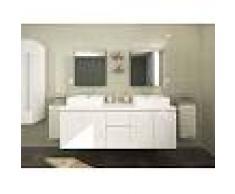 Venta-unica Conjunto de baño LAVITA II - Mueble + doble lavabo + espejo - Blanco