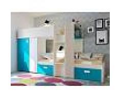 Venta-unica Cama litera JULIEN - 2x90x190 cm - Armario integrado - Pino blanco y azul