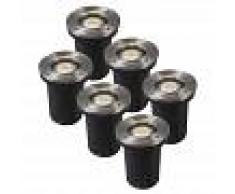 QAZQA Set 6 focos de suelo acero IP65 LED - BASIC Round