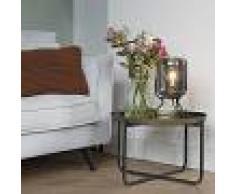 QAZQA Lámpara de mesa de diseño negra con cristal ahumado - BLISS