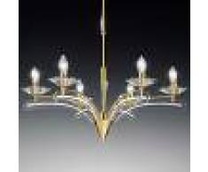Mettallux Lámpara de araña ICARO 6 luces con cristal, oro