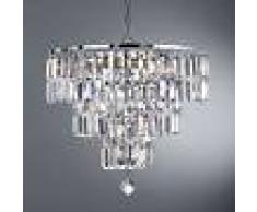 Searchlight Lámpara de araña Empire con prismas de cristal