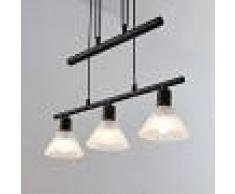 Lampenwelt.com Lámpara colgante Delira 3 luces, negro, regulable