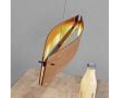 Lucande Lámpara LED colgante Malu, madera de roble natural