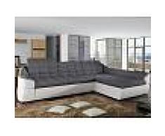 Venta-unica Sofá cama rinconero tapizado de tela y piel sintética FAREZ - Bicolor gris y blanco - Ángulo derecho