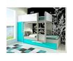 Venta-unica Cama litera con cajón cama nido ANTONIO - 3x90x190 cm - Armario integrado - Pino turquesa y blanco
