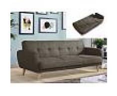 Venta-unica Sofá cama 3 plazas MAELO tapizado de tela - Marrón topo