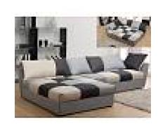 Venta-unica Sofá cama rinconero de tela ROMANE - Negro y gris - Ángulo izquierdo