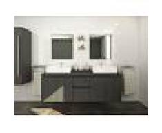 Venta-unica Conjunto de baño LAVITA II - Mueble + doble lavabo + espejo - Gris