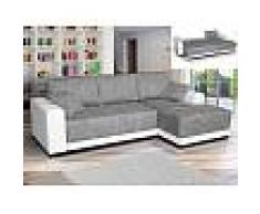 Venta-unica Sofá cama rinconero tapizado de tela y piel sintética JARED - Bicolor blanco y gris jaspeado - Ángulo derecho