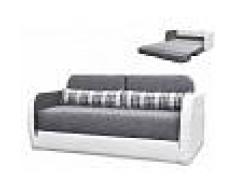 Venta-unica Sofá cama 2 plazas de tela y piel sintética VILO - Blanco y gris