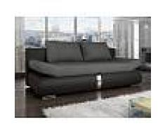 Venta-unica Sofá cama de 2 plazas JADEN tapizado de tela y piel sintética - Bicolor negro y gris antracita