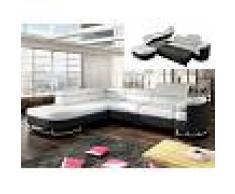 Venta-unica Sofá cama rinconero de piel sintética MYSEN - Blanco y negro - Ángulo izquierdo
